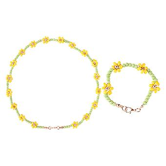 Urocza dziewczyna bransoletka koralikami naszyjnik biżuteria zestawy 2Szt1Set
