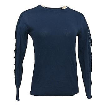 BROOKE SHIELDS Timeless Women's Sweater Pullover Lace Detail Blue A342025