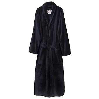 Bown of London Baroness Plain Velour Dressing Gown - Navy