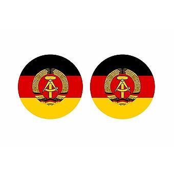 2x stick klistermärke rund cocarde flagga tyskland rda är