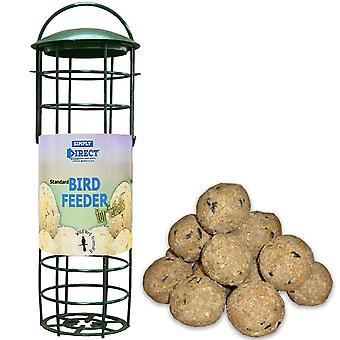1 x Simply Direct Standard Plastic Wild Bird Fat Ball Feeder with Pack of 6 Suet Fat Balls Feed