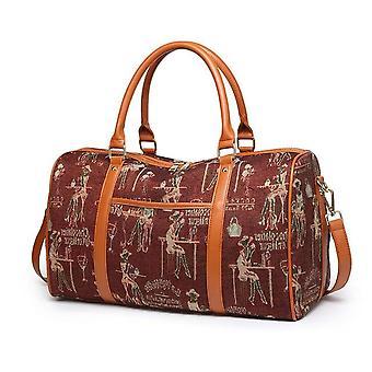 قماش + بو الجلود المرأة السفر حقيبة أزياء مخططة duffel حمل حقيبة كبيرة عطلة نهاية الأسبوع الإناث التعبئة مكعبات حقائب الكتف