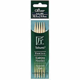Pasadores de punto de trébol: Doble punta: Conjunto de cinco: Takumi Bambú: 12.5cm x 5.00mm