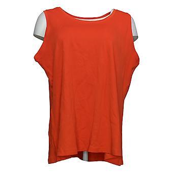 Isaac Mizrahi Live! Women's Top Cotton Scoop- Neck Tank Orange A393576