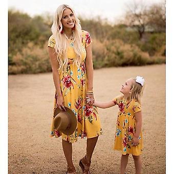 Mother Daughter Dresses, Casual Short Sleeve Dress