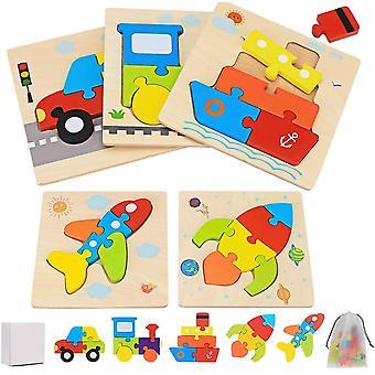FengChun Kinder 3D Holzpuzzle Steckpuzzle, 5 Stck Holz Puzzle Montessori Spielzeug Transport Spiel