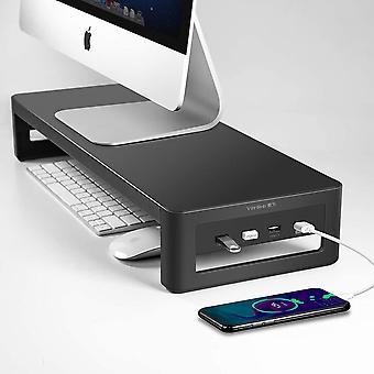 FengChun Monitorständer mit USB 3.0/2.0 Hub, Stahl- Monitor Stand Riser Unterstützt Datenübertragung