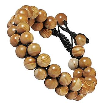 mookaitedecor - 8 mm round pearl bracelet, with adjustable double layer in stone, color: brown, cod. JMPY0007103