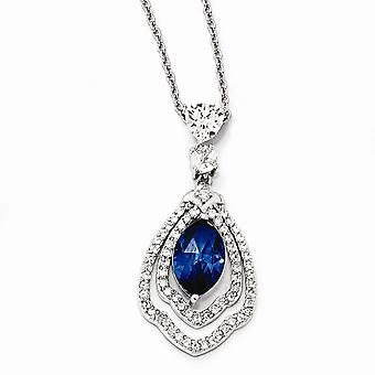 925 Sterling Silver Fancy Lobster Closure Marquise Synthetic Sapphire and CZ Cubic Zirconia Simulated Diamond Necklace 1