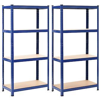 vidaXL lagerplanken 2 st. blauw 80 x 40 x 160 cm staal en MDF
