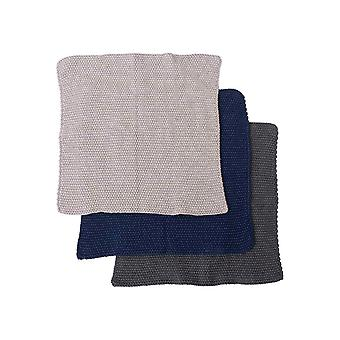 Ladelle Eco Pack of 3 Knitted Dishcloths, Navy