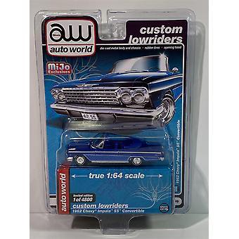1962 Chevy Impala SS Converible Blue 1:64 Scale Auto World CP7662