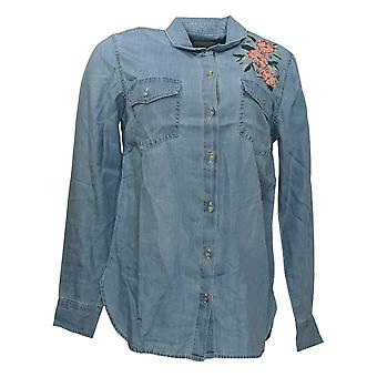 Haute Hippie Tribe Women's Top Denim Blouse Embroidered Blue A370020