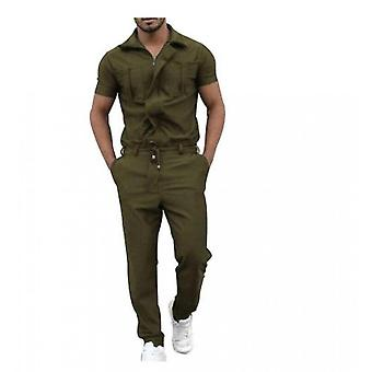 Men's Short-sleeved Jumpsuit With Zipper Closure One-piece Pocket Overalls