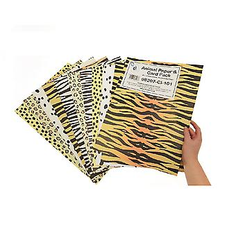 40 Assorted A3 Animal Print Paper and Card for Crafts | Coloured Card for Crafts