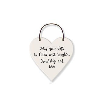 Days of Laughter, Friendship, Love - Mini Wooden Hanging Heart - Cracker Filler Gift