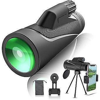 Monocular, 12X42 HD Monocular with Portable Cell Phone Holder & Tripod & Wrist Strap,