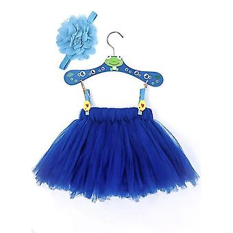 Marine blau Baby Kleid Set mit Blume Stirnband