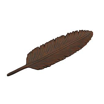 Copper Colored Feather Cast Iron Accent Tray 15 Inch