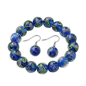 Beaded, Drop Dangle Smykker Sæt til Kvinders 7,5 '' Blue Murano Glass 0,002ct