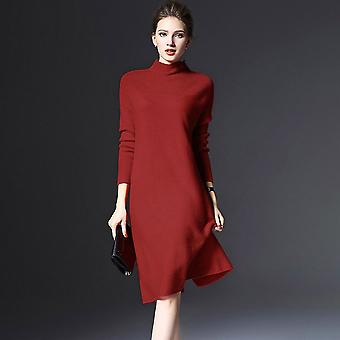 Loose Sweater Turtleneck Solid Color Women Long Sleeve Casual Knitted Dress