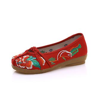 Women's Chinese Ethnic Embroidery Flat Ballet Marry Janes Cheongsam Dancing Shoes Fresh Clothes
