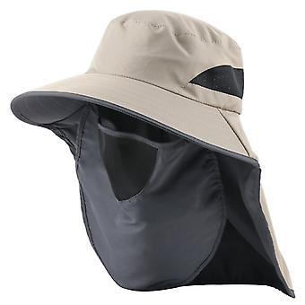 Chapeau seau avec rabat de cou visage Femmes été Protection UV Chapeau de soleil Homme extérieur Maille respirante Capquettes de pêche de randonnée