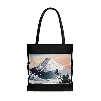 Premium polyester tote bag - vintage art #303 katsuyama neighborhood by hiroaki takahashi | artsy tote bag, graphic tote bag, aesthetic