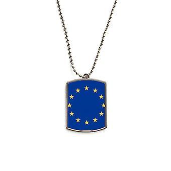Drapeau national de l'UE Pendentif d'étiquette d'animal en acier inoxydable