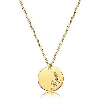 Flower Round Coin Necklace Exquisite Personalized Simple Jewelry