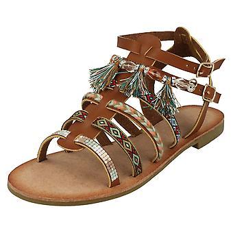 Ladies Savannah Flat Strappy Beaded Sandals F00005