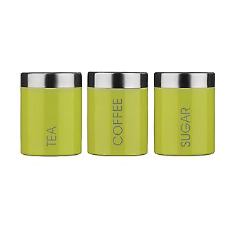 Premier Housewares Tea, Coffee & Sugar Canisters, Lime Green