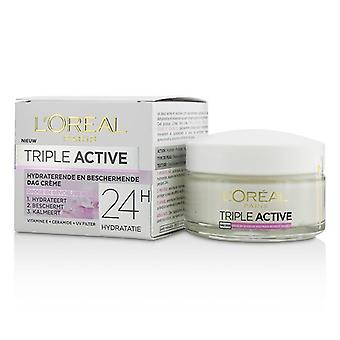 L'oreal Triple Active Multi-Protective Day Cream 24h Hydration - für trockene / empfindliche Haut - 50ml / 1.7oz