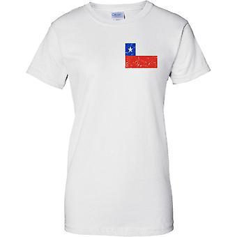 Chile erschüttert Grunge Effekt Flaggendesign - Damen Brust Design T-Shirt