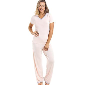 Camille eleganta Full längd Kortärmad persika Pyjamas Set