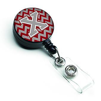 Litera X Chevron Crimson i szary bębnowa chowany odznaka