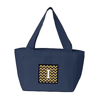 Bokstaven I Chevron marinblå och guld Lunch väska