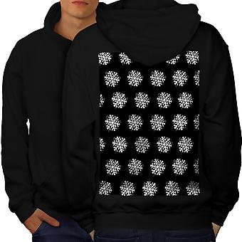 Snowflake Cute Christmas Men BlackHoodie Back | Wellcoda