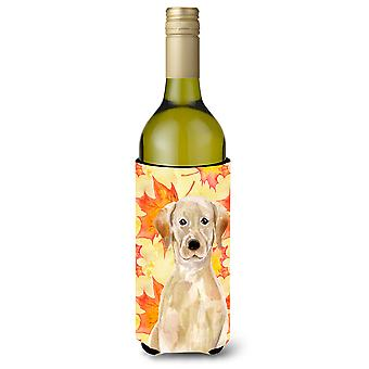 Yellow Labrador Fall Wine Bottle Beverge Insulator Hugger