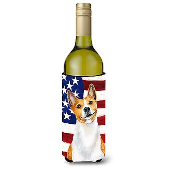 Basenji Patriotic Wine Bottle Beverge Insulator Hugger