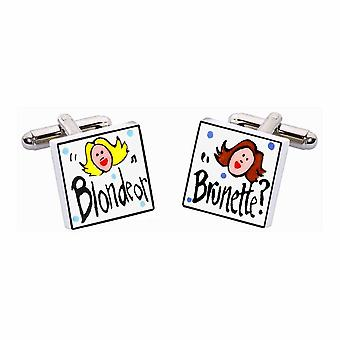 Blonde or Brunette Cufflinks by Sonia Spencer, in Presentation Gift Box. Hand painted