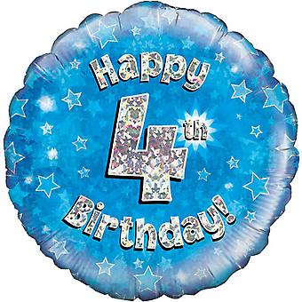 Oaktree 18 Inch Happy 4th Birthday Blue Holographic Balloon