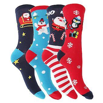 FLOSO Womens/Ladies Christmas Character Design Novelty Socks (4 Pairs)