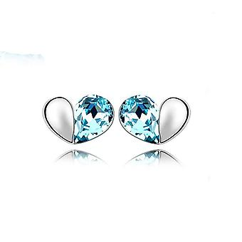 Himmelsblå kärlek hjärtat Stud örhängen kristall Silver smycken