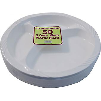 50 pack 3 fach Kunststoffplatten Einweg Party Tableware