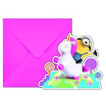 Fluffiga hantlangare party inbjudningskort inbjudningar hantlangare Unicorn part barn födelsedag 6 bitar