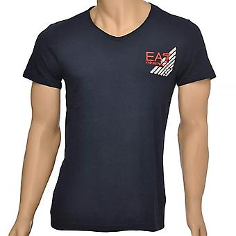 EA7 Emporio Armani Sea World Core Eagle V-Neck T-Shirt, Blue, X Large