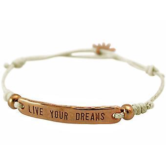 Bracelet de noeud pour femme GEMSHINE avec gravure LIVE VOTRE DREAMS rose Or Plaqué