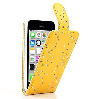 Dække mobiltelefon sag til mobiltelefon Apple iPhone 5 c rhinestone gul