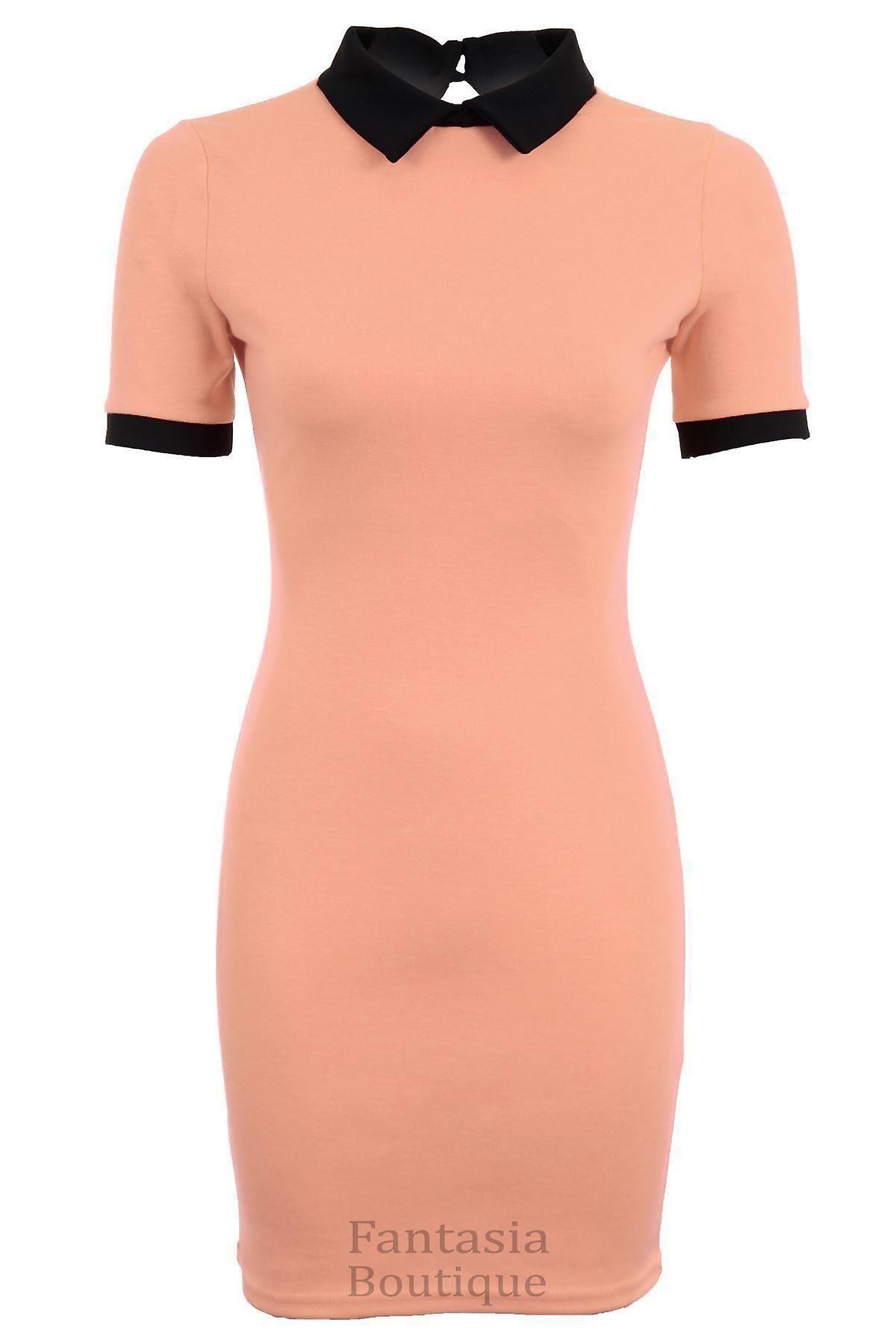 Ladies Short Sleeve Plain Peter Pan Collar Contrast Bodycon Women's Short Dress